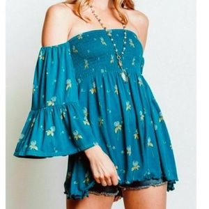 NWT Free People Lana tunic off the shoulder top